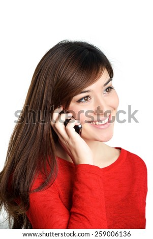 Mixed Asian race girl talking mobile phone on white background - stock photo