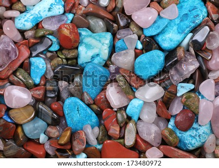 Mixed batch of Semi-precious stones - stock photo