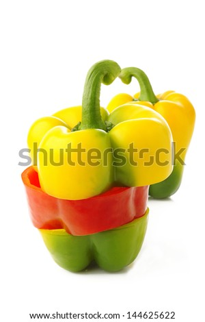 Mixed bell pepper on white background