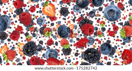 Mixed Berries background isolated on white - stock photo
