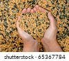Mixed bird food held by woman hands, shaping a heart - stock photo