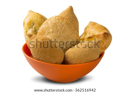 Mixed Brazilian deep fried chicken snack,, esfihas and pastry - popular at local parties.  - stock photo