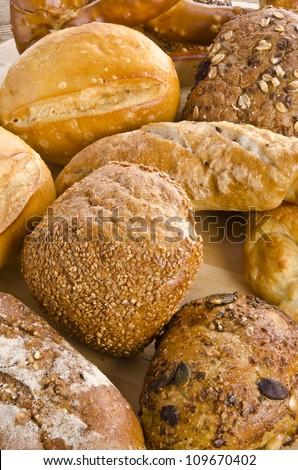 mixed bread rolls - stock photo