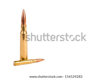 Mixed caliber bullets, brass on white