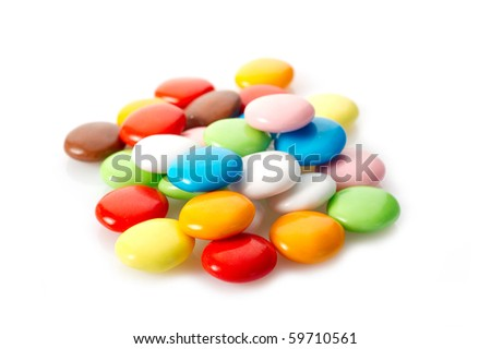 mixed candy on white background - stock photo