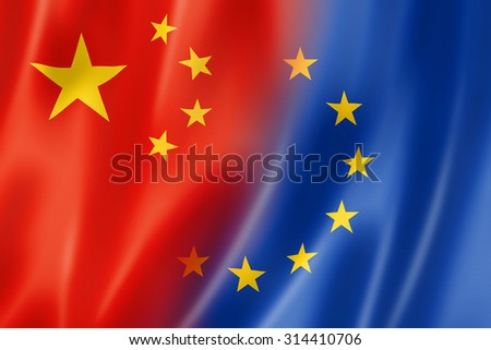 Mixed China and Europe flag, three dimensional render, illustration - stock photo