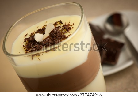 Mixed chocolate and vanilla pudding served in a glass decorated with chocolate pieces - stock photo