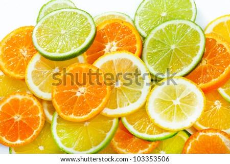 Mixed citrus fruit. Lemon, Lime, Orange - stock photo