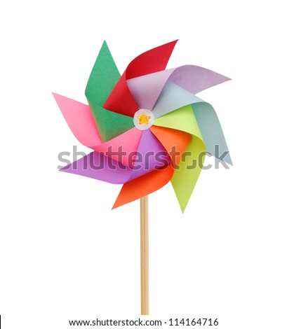 Mixed color Pinwheel, toy fan isolated on white - stock photo