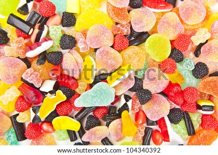 mixed colorful sugar candy background - stock photo