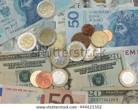 Mixed currency notes - USD, EUR, SEK, PLN, CZK