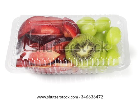 Mixed Cut Fruits in Plastic Box on White Background - stock photo