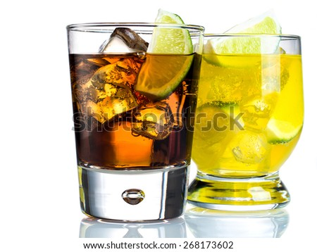 Mixed drinks on white background - stock photo