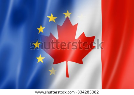 Mixed Europe and Canada flag, three dimensional render, illustration - stock photo