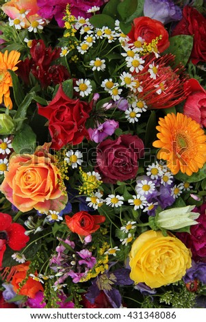 Mixed floral arrangement in bright colors