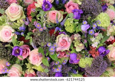 Mixed flower arrangement wedding flowers pink stock photo royalty mixed flower arrangement wedding flowers in pink and purple blue mightylinksfo