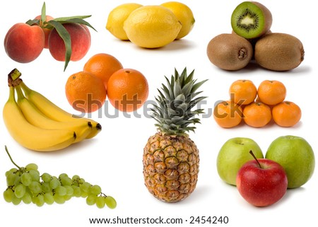 mixed fresh fruits on white close up