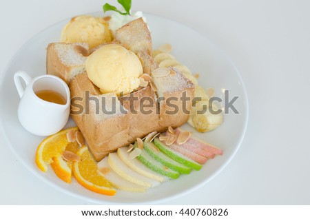 Mixed fruit and Honey Toast with Ice Cream