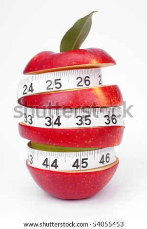 Mixed-fruit and measuring tape on a white background