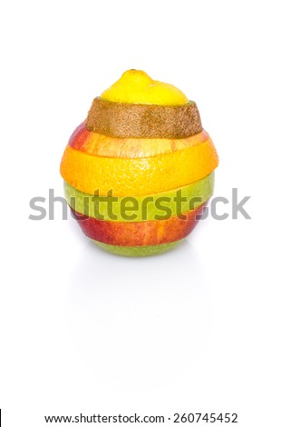 Mixed fruit consisting of various kinds of fruits with shadow isolated on white background - stock photo