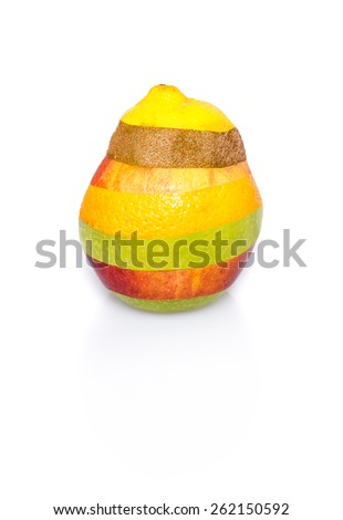 Mixed fruit consisting of various kinds of fruits with shadow isolated on white background. Photo edited so that no cuts are visible, the fruit appears to have a perfect shape. - stock photo