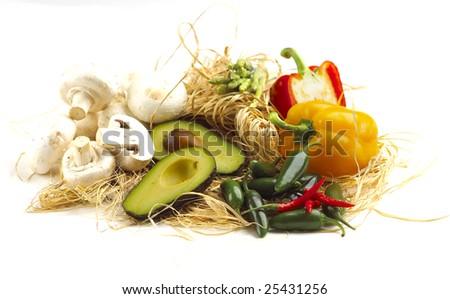 Mixed fruit isolated on white background - stock photo