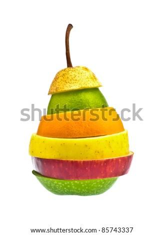 Mixed fruit on white background - stock photo