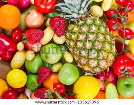 Mixed fruits and vegetables background