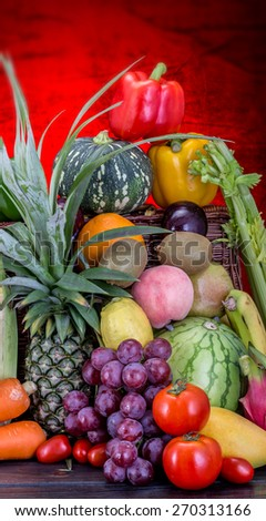 mixed fruits vegetables - stock photo