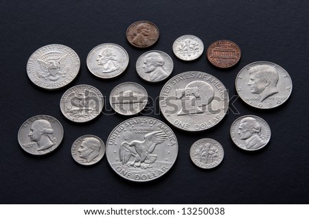 Mixed group of United States of America coins, one dollar to one cent