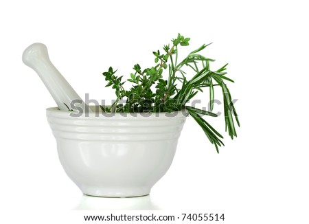 Mixed Herbs, Rosemary and Thyme, In A White Mortar and Pestle Ceramic Pot - stock photo