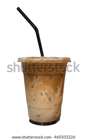 Mixed iced coffee and chocolate in plastic cup isolated on white background, clipping path included