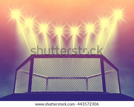 Mixed martial arts cage and spotlights , Fight night event , MMA arena , 3d illustration