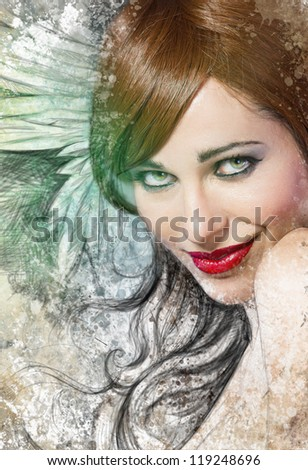 Mixed media, beautiful woman with red hair with wings, art illustration - stock photo