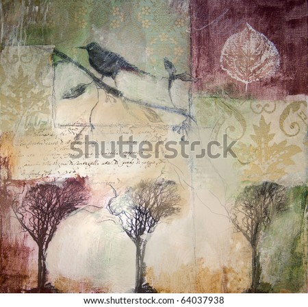 Mixed media layered painting with bird and winter trees. Painting style blurs and veils images. - stock photo