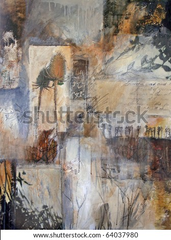 Mixed media layered painting with nature images of trees, thistle-heads, and leaf shadows. - stock photo