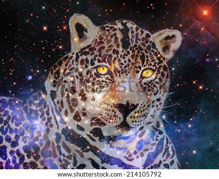 mixed media painting of celestial cat - stock photo