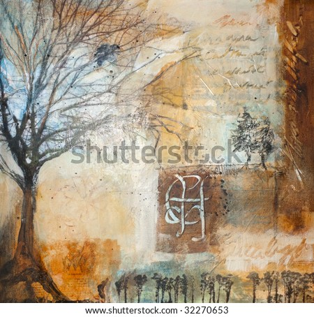 Mixed media painting with winter trees - stock photo