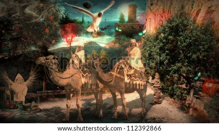 mixed media: Three Kings in a fantasy landscape (reminiscent of the way in a dream) go up to Jerusalem to visit Jesus after his birth (old photos was taken in 1950 and 1958) - stock photo