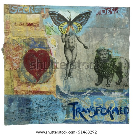 Mixed medium painting of butterfly headed ancient  alchemical goddess and crowned alchemical lion with the words Secret Desire Transformed. - stock photo