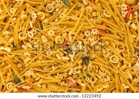 Mixed noodles background. Abstract food textures.