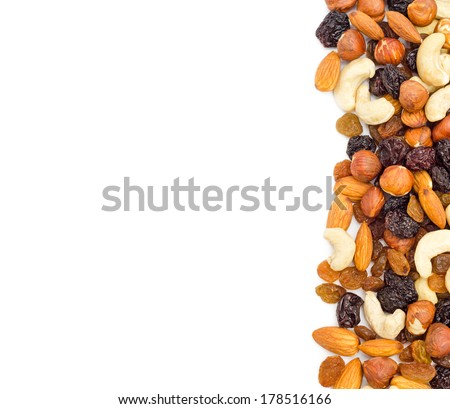 Mixed nuts and dry fruits background. Clipping path. - stock photo