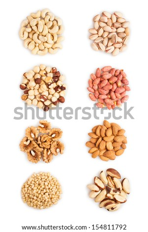 mixed nuts heap on white background