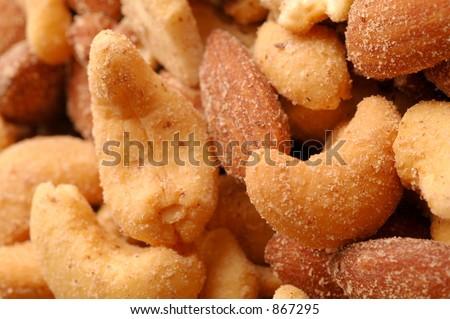 mixed nuts macro view - stock photo