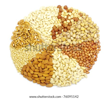 mixed nuts on a background - stock photo
