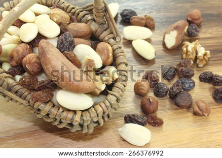 Mixed nuts with raisins in a basket - stock photo