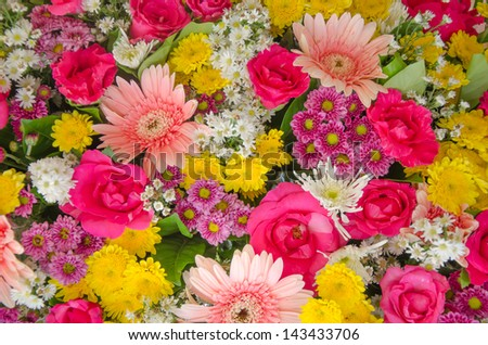 mixed of  fresh colorful  flower  bouquet  .