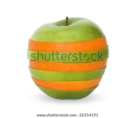 Mixed orange and apple in one fruit isolated over white - stock photo