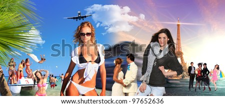 mixed people with beach and Paris on background - travel concept