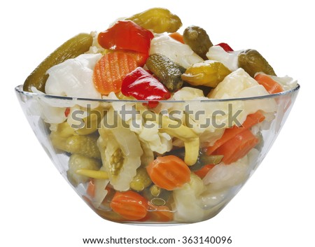 mixed pickles in glass bowl
